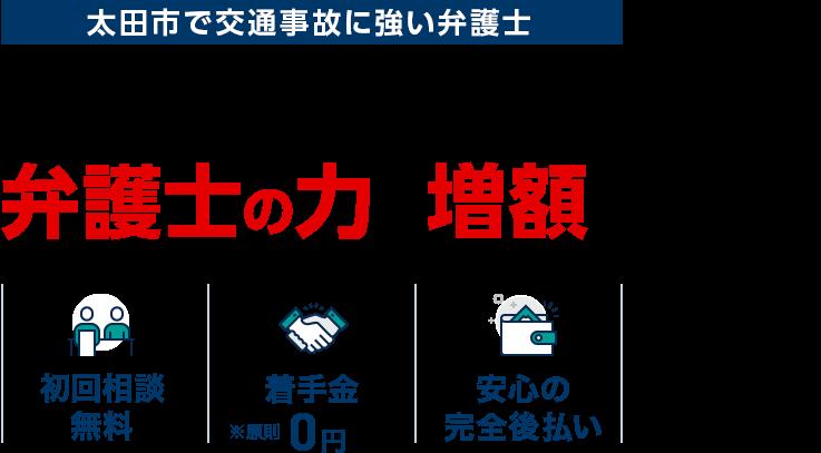太田市で交通事故に強い弁護士 交通事故の賠償金は弁護士の力で増額できます!/初回相談無料/着手金0円 ※原則/安心の完全後払い